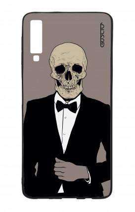 Samsung A7 2018 WHT Two-Component Cover - Tuxedo Skull