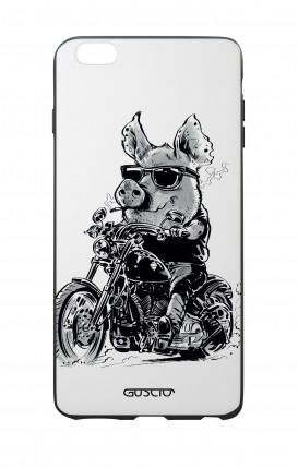Apple iPhone 7/8 Plus White Two-Component Cover - Biker Pig