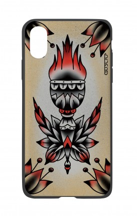 Apple iPhone XR Two-Component Cover - Old School Tattoo Flame