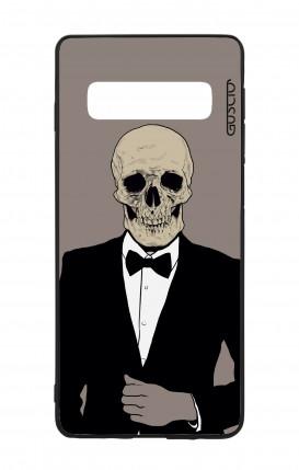Samsung S10 WHT Two-Component Cover - Tuxedo Skull