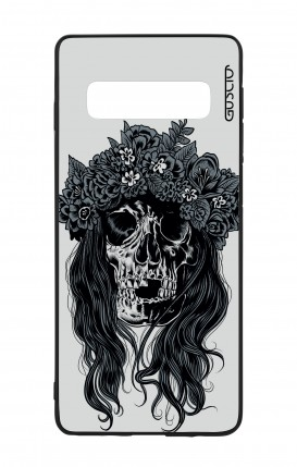 Samsung S10 WHT Two-Component Cover - Skull with flowers