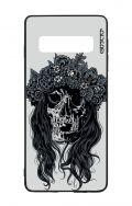 Cover Bicomponente Samsung S10 - Teschio con fiori