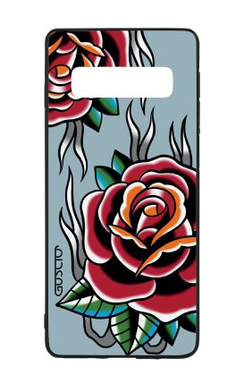 Cover Bicomponente Samsung S10 - Rose Tattoo su azzurro