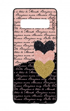 Samsung S10 WHT Two-Component Cover - Hearts on words