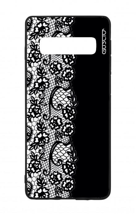 Samsung S10 WHT Two-Component Cover - Pizzo bianco e nero