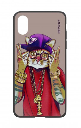 Apple iPh XS MAX WHT Two-Component Cover - Hip Hop Cat