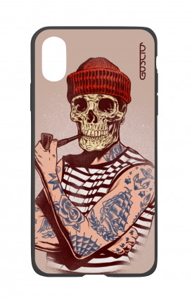 Apple iPh XS MAX WHT Two-Component Cover - Skull Sailor with Red Cup