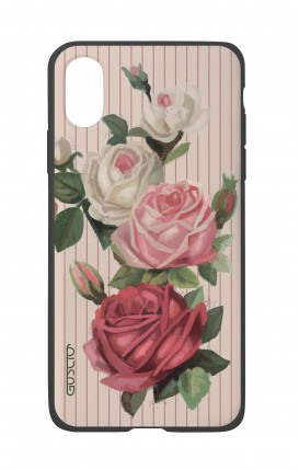 Apple iPh XS MAX WHT Two-Component Cover - Roses and stripes
