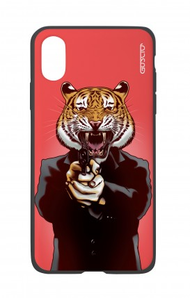 Apple iPh XS MAX WHT Two-Component Cover - Tiger with Gun