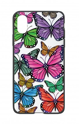 Apple iPh XS MAX WHT Two-Component Cover - Vivid butterflies Pattern