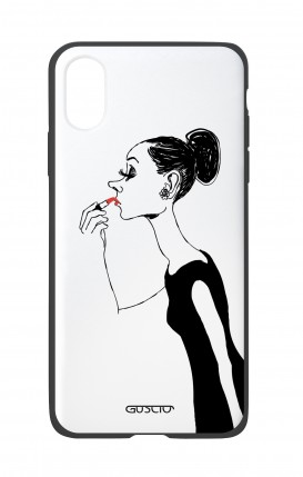 Apple iPh XS MAX WHT Two-Component Cover - Lady with Lipstick