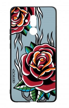 Huawei Mate20Lite WHT Two-Component Cover - Roses tattoo on light blue