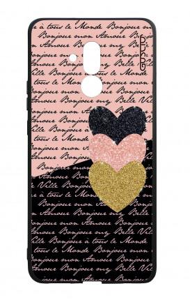 Cover Bicomponente Huawei Mate 20 Lite - Scritte e Cuori rosa nero