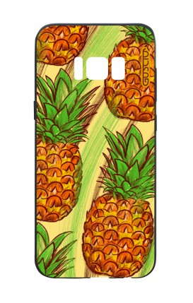 Cover Bicomponente Samsung S8 - Ananas Pattern fondo giallo