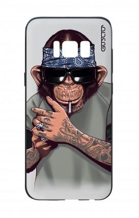 Samsung S8 White Two-Component Cover - Chimp with bandana