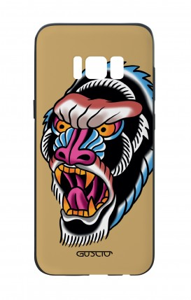 Samsung S8 White Two-Component Cover - Ape Tattoo on ochre