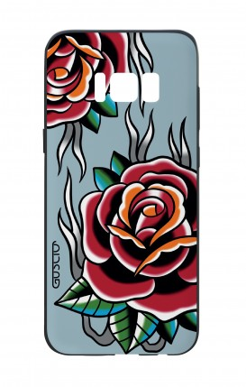 Samsung S8 White Two-Component Cover - Roses tattoo on light blue