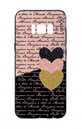 Cover Bicomponente Samsung S8 - Scritte e Cuori rosa nero
