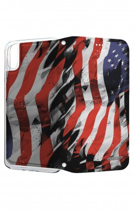 Cover STAND Apple iPhone X - Bandiera americana