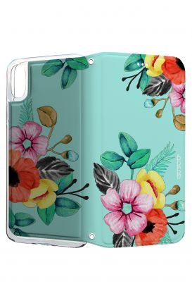 Cover STAND Apple iPhone X - Bouquet azzurro