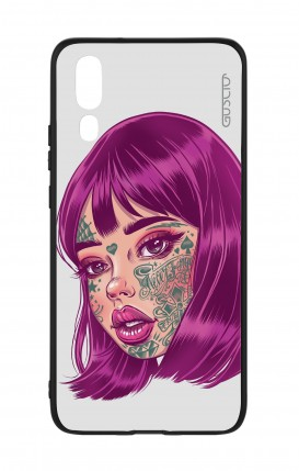 Huawei P20 WHT Two-Component Cover - Tattooed Girl face