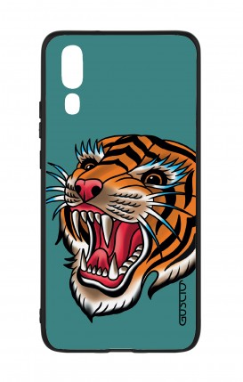 Huawei P20 WHT Two-Component Cover - Tiger Tattoo on teal