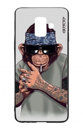 Samsung A6 WHT Two-Component Cover - Chimp with bandana