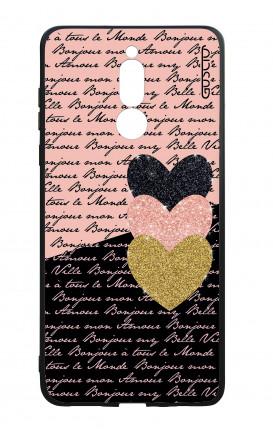 Cover Bicomponente Huawei Mate 10 Lite - Scritte e Cuori rosa nero