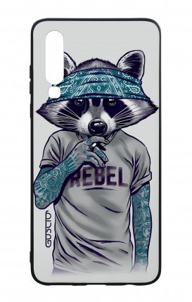 Huawei P30 WHT Two-Component Cover - Raccoon with bandana