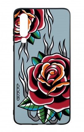 Huawei P30 WHT Two-Component Cover - Roses tattoo on light blue