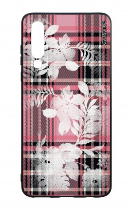 Huawei P30 WHT Two-Component Cover - Flowers on pink tartan