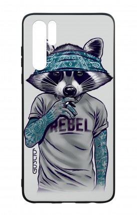 Huawei P30PRO WHT Two-Component Cover - Raccoon with bandana