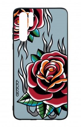 Cover Bicomponente Huawei P30PRO - Rose Tattoo su azzurro