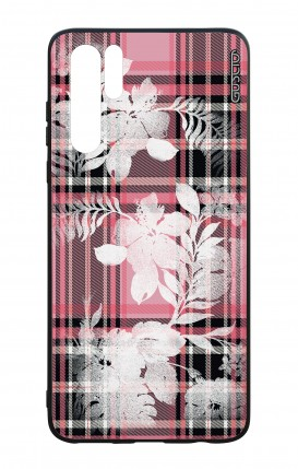 Huawei P30PRO WHT Two-Component Cover - Flowers on pink tartan