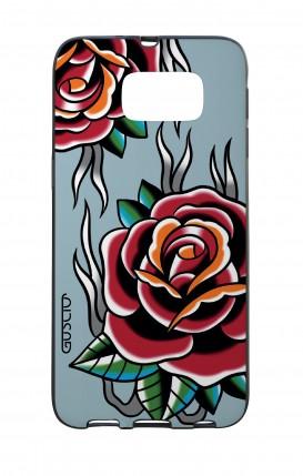 Cover Bicomponente Samsung S6 - Rose Tattoo su azzurro