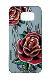 Samsung S6 WHT Two-Component Cover - Roses tattoo on light blue
