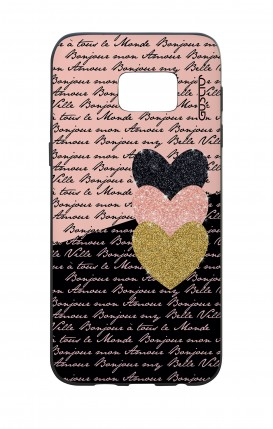 Samsung S7Edge WHT Two-Component Cover - Hearts on words