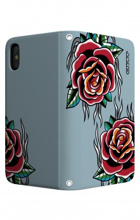 Cover STAND Apple iphone X/XS - Rose Tattoo su azzurro