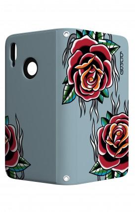 Cover STAND Huawei P20 Lite - Rose Tattoo su azzurro