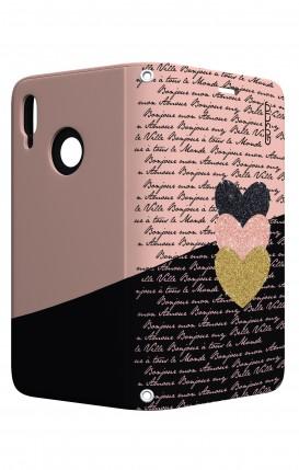 Cover STAND Huawei P20 Lite - Scritte e Cuori rosa nero