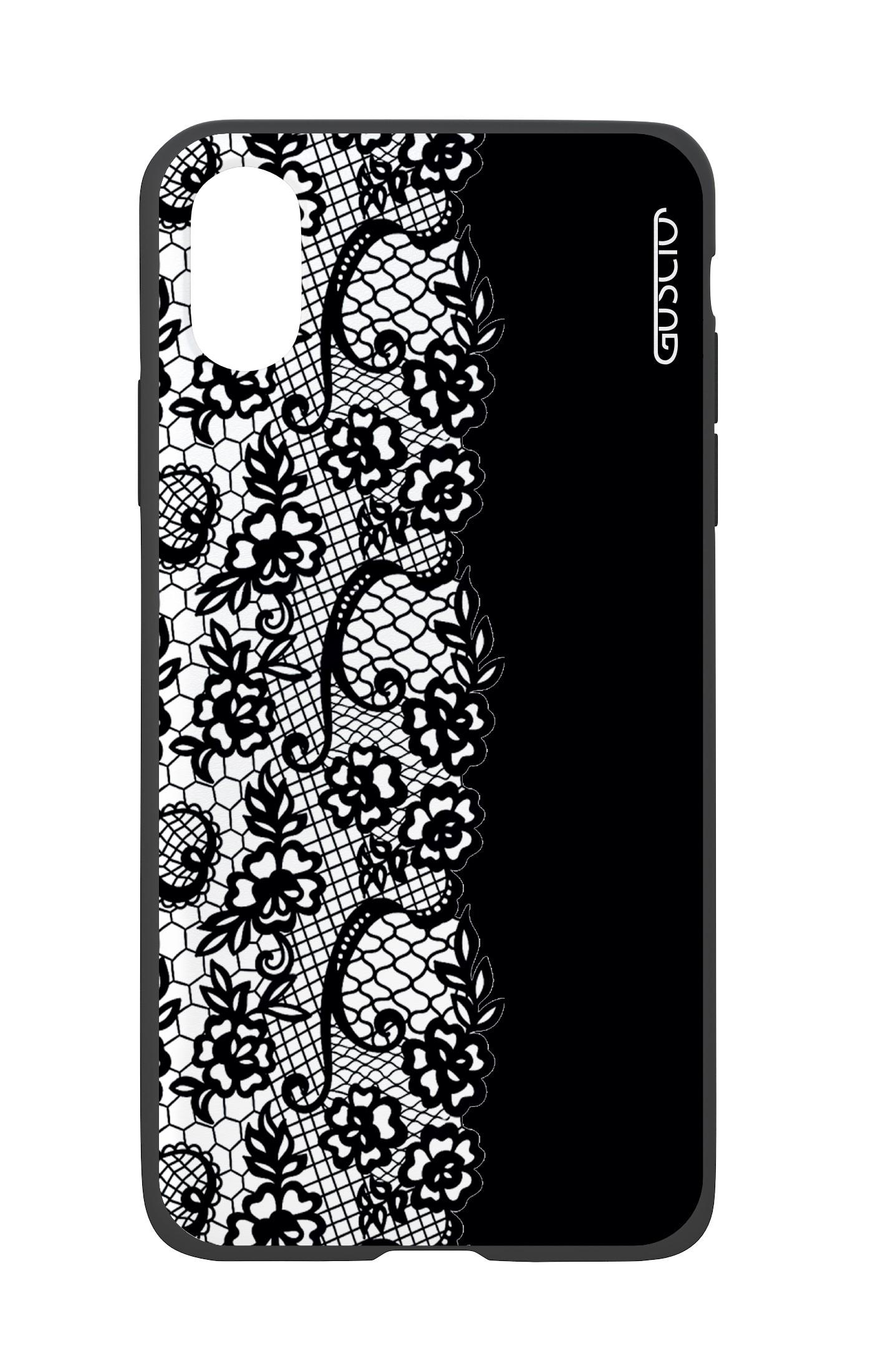Cover Bicomponente Apple Iphone Xr Pizzo Bianco E Nero Gusciostore