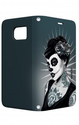 Cover STAND Samsung S7 Edge - Calavera bianco e nero