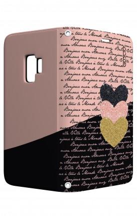 Cover STAND Samsung S9 - Scritte e Cuori rosa nero