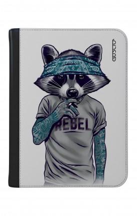 "Case UNV TABLET 9-10"" WHT/BLK - Raccoon with bandana"
