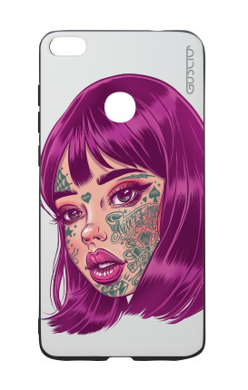 Huawei P8Lite 2017 White Two-Component Cover - Tattooed Girl face