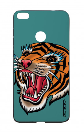 Huawei P8Lite 2017 White Two-Component Cover - Tiger Tattoo on teal