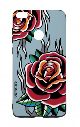 Huawei P8Lite 2017 White Two-Component Cover - Roses tattoo on light blue