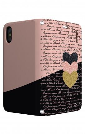 Cover STAND Apple iphone XS MAX - Scritte e Cuori rosa nero
