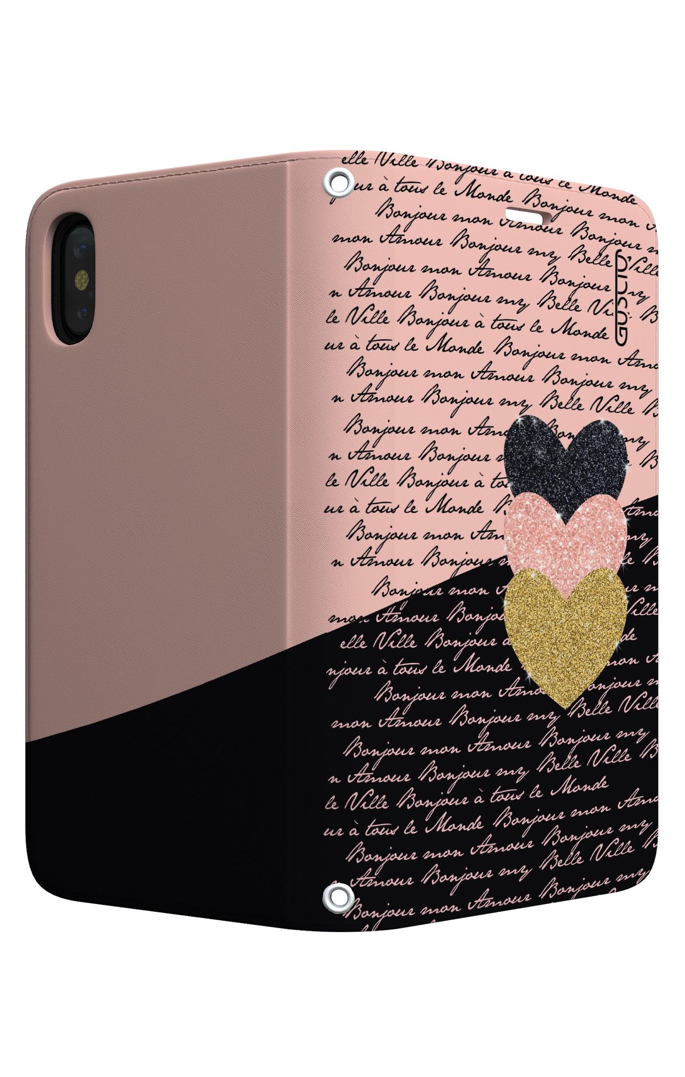 Cover Stand Apple Iphone Xs Max Scritte E Cuori Rosa Nero