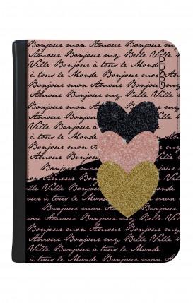 """Cover Universal Tablet Case per 9/10"""" display - Scritte e Cuori rosa nero"""